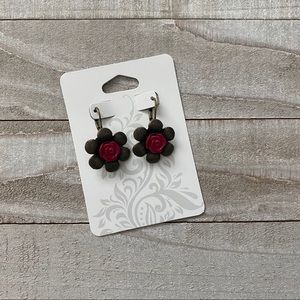 Jewelry - Bronze and Pink Floral Rose Dangle Earrings